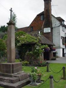 The War Memorial, Bus Shelter and The Hay Waggon